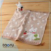 日本有機棉毛巾/ 方巾 : 蘋果熊熊 34*35 cm (有機彩棉 無撚絲 緹花 -- taoru 日本毛巾)