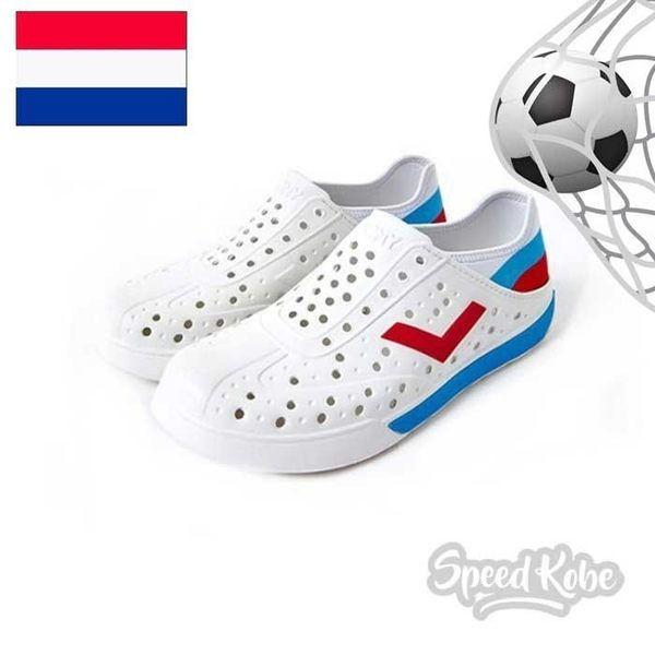 PONY ENJOY 白 水藍紅 洞洞鞋 後跟可踩 水鞋 世足 俄羅斯 男女 82U1SA72OW【SP】