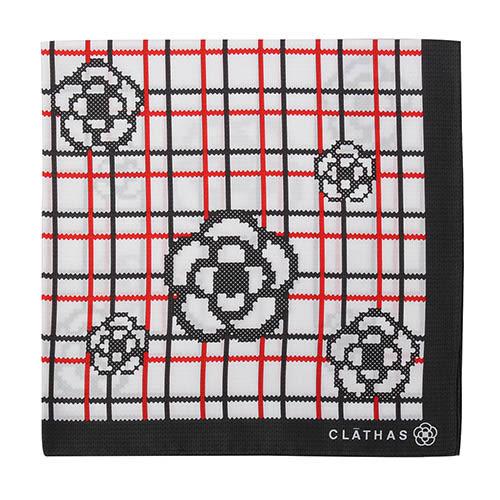 Clathas 經典山茶花格紋純綿帕巾(黑紅色)989254