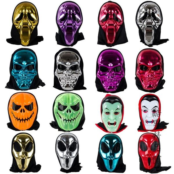 萬圣節成人面具聚會骷髏頭白臉男鬼臉恐怖面具骷髏吸血鬼尖叫面具 酷男精品館