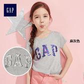 Gap女童 亮片LOGO圓領短袖T恤 328606-麻灰色