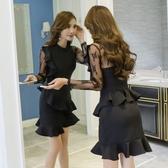 黑色小晚禮服女2019新款氣質宴會年會大氣顯瘦平時可穿法式洋裝 全館免運快速出貨