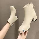 粗跟chic小短靴女2020年新款秋冬季加絨方頭顯瘦中跟馬丁瘦瘦靴子