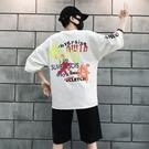 FINDSENSE2019 夏季 日本新款 韓國 街頭 嘻哈 兩件套 字母印花
