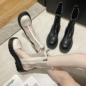 涼靴 煙筒靴女馬丁靴春夏季薄款2021新款透氣鏤空網紗中筒涼靴厚底涼鞋 韓國時尚 618