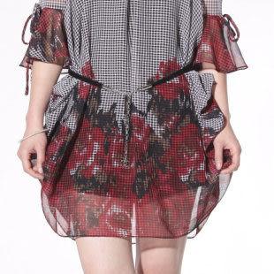 夏裝新款女裝熱賣 時尚圓領喇叭袖印花雪紡連衣裙 女