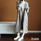 藍色巴黎 ★ 秋冬羊绒毛衣連帽長版寬鬆開衫加厚針織麻花外套大衣 外套  針織衫 《3色》【28625】