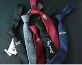 刺繡休閒韓版3cm5cm潮女型男百搭學生團正裝職業學院風細窄小領帶