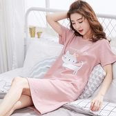 新款女士睡裙夏季純棉中大尺碼中長版性感可愛短袖薄款夏天睡衣家居服   任選一件享八折