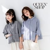 Queen Shop【01023332】滿版小格子雙口袋棉麻襯衫 兩色售*現+預*