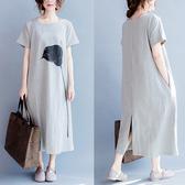 文藝洋裝 100公斤胖mm夏裝連衣裙純棉顯瘦大碼女裝寬鬆文藝範開叉短袖長裙子
