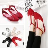 平底涼鞋女鞋子包頭羅馬度假平跟沙灘果凍鞋