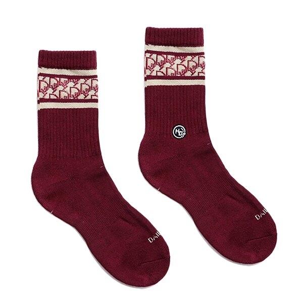 HOWDE LAB 襪子日常研究室 LAB CLASSIC SOCKS 老花紋 酒紅 銀離子抑菌抑臭纖維 男女 (布魯克林) 20SS03WN