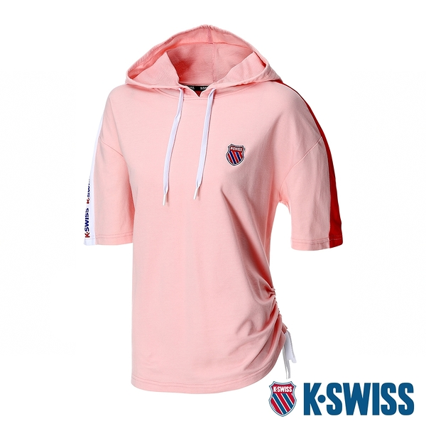 K-SWISS Loose Fit Hoodie短袖連帽上衣-女-粉紅