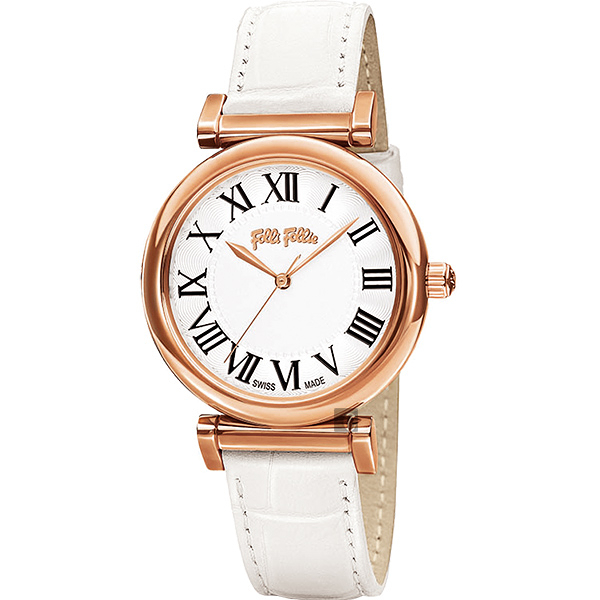 Folli Follie Obsession 優雅古典羅馬時尚腕錶-白/34mm WF14R029SPS-WH