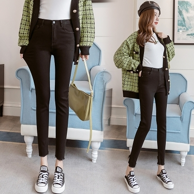 彈力牛仔褲女2021春季高腰高腰修身顯瘦黑色鉛筆九分小腳褲跨049-A.胖丫