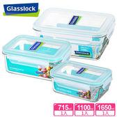 【Glasslock】強化玻璃微波保鮮盒 - 實用尺寸3件組