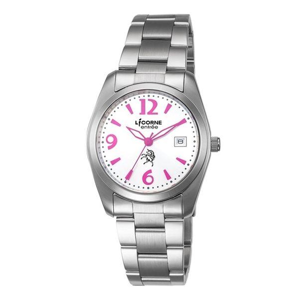 【LICORNE】恩萃 Entrée 簡約時尚設計都市腕錶 (白面/桃紅 LT083BWWA-P)