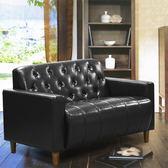 沙發 皮沙發 美式拿鐵-百年經典復古雙人沙發125cm-兩人座皮沙發-$4999-黑色-兩色