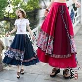 2020時尚民族風女裝裙子 復古印花寬鬆大擺不規則半身裙‧復古‧衣閣