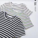 彩橫條坑紋彈性T恤上衣-BAi白媽媽【310370】