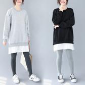 秋冬新款韓版大碼加絨加厚帽T女中長款長袖拼接假兩件套頭上衣潮
