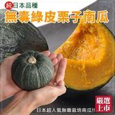 【果之蔬】純日本品種無毒綠皮栗子南瓜x1顆(400g±10%/顆)