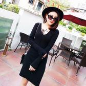 韓版時尚V領修身針織打底連身裙 小禮服