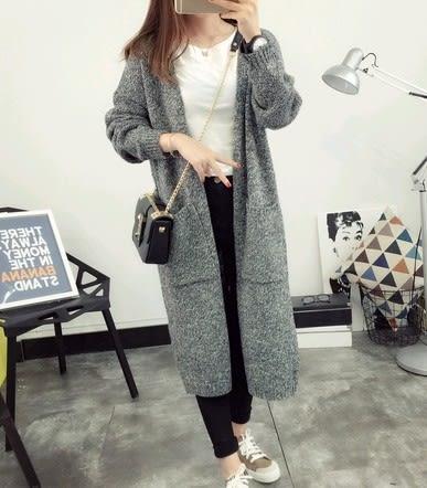 EASON SHOP(GU3741)長版麻灰色圓領長袖針織外套毛衣素色秋冬韓寬鬆開衫長款後背鏤空保暖大口袋風衣