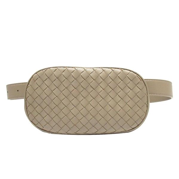 BOTTEGA VENETA 寶緹嘉 棕色編織羊皮胸掛腰包 Intrecciato Belt Bag【BRAND OFF】