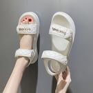 低跟涼鞋 夏季涼鞋2021年新款女低跟平底時尚百搭學生魔術貼防滑沙灘羅馬鞋 晶彩 99免運
