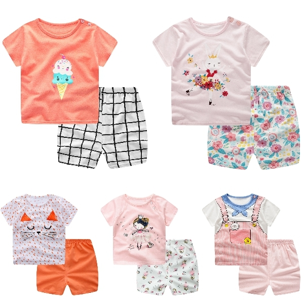 嬰兒短袖套裝 可愛卡通 短袖上衣 + 短褲 寶寶童裝 ZS11902 好娃娃