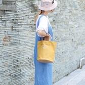 帆布手提包-日系簡約字母水桶包女側背包4色73xb37【巴黎精品】
