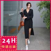 梨卡★現貨 - 韓版V領綁帶不規則縮腰一片式連身裙連身長裙洋裝C6254