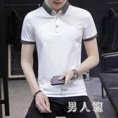 男士短袖T恤翻領純色簡約休閒百搭棉質潮青年保羅夏季有領polo衫 PA16794『男人範』