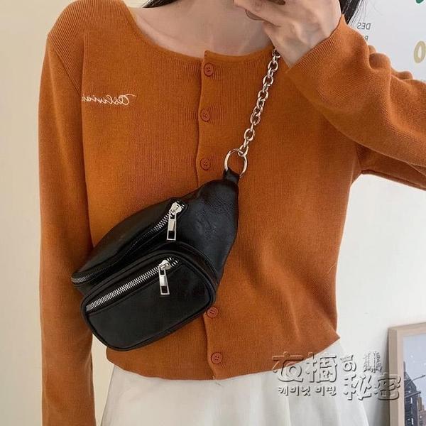 新款小眾設計ins超火胸包網紅同款時尚鏈條黑色腰包斜背包女 衣櫥秘密