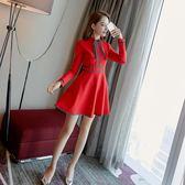 2018春季女裝新款小香風禮服春秋長袖裙子正式場合顯瘦紅色連衣裙【諾克男神】
