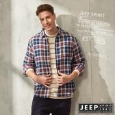 【JEEP】經典雙色格紋長袖襯衫(深藍格紋)