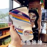 創意個性大容量馬克杯咖啡帶蓋陶瓷杯可愛女學生家用喝水杯子 LF5450『黑色妹妹』