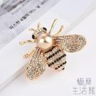 胸針女氣質百搭鑲鉆金色珍珠蜜蜂胸針開衫大衣別針裝飾【極簡生活】