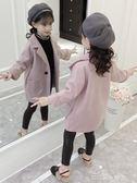 兒童長款棉衣外套女童呢子外套秋冬裝新款韓版洋氣女孩中長款兒童加厚毛呢大衣走心小賣場