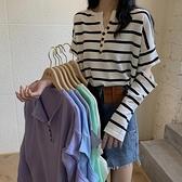 針織打底衫 早秋設計感破洞長袖打底衫上衣秋季寬鬆條紋薄款針織衫女-Milano米蘭