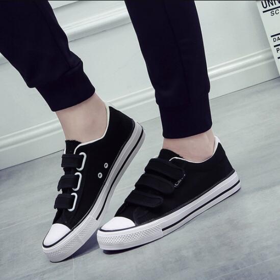 布鞋 2020春魔術貼男鞋平底白色帆布鞋女潮低幫女學生板鞋休閒布鞋