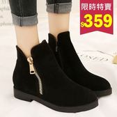 短靴.韓版簡約復古雙拉鍊休閒馬丁靴.白鳥麗子