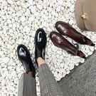 中筒靴 馬丁靴女英倫風復古平底單靴真皮切...