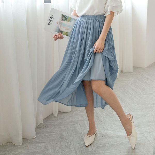 MIUSTAR 鬆緊細百褶雪紡長裙(共5色)【NH1641】預購
