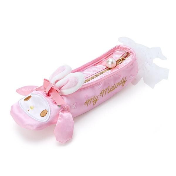 小禮堂 美樂蒂 舞鞋造型緞面拉鍊筆袋 緞面筆袋 鉛筆盒 鉛筆袋 (粉 芭蕾劇場) 4550337-33632