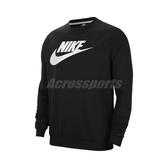 Nike 長袖T恤 NSW Fleece Crew Tee 黑 白 男款 大學T 運動休閒 【ACS】 CU4474-010