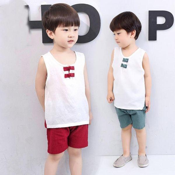兒童套裝純棉2018夏裝中式唐裝小孩寶寶夏季男女童裝演出服