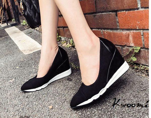楔型鞋 黑白撞色基本款好穿搭 厚底鞋 娃娃鞋 包鞋*Kwoomi-A92